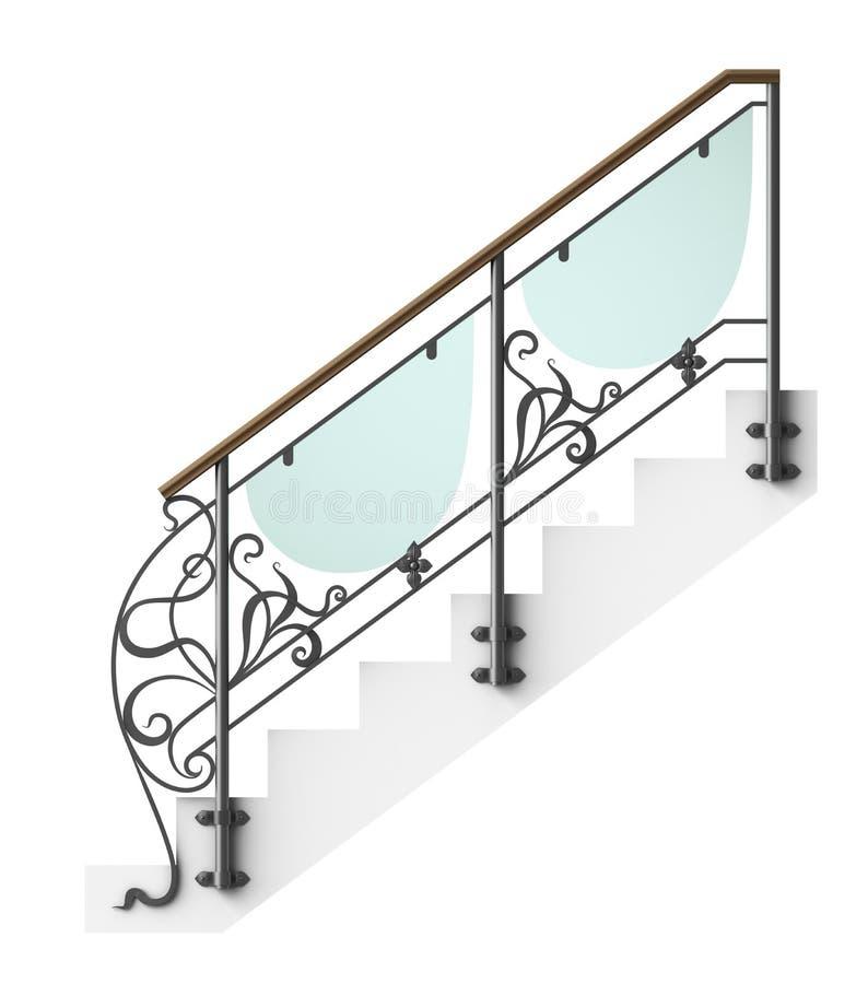 Περίφραξη σκαλοπατιών επεξεργασμένου σιδήρου διανυσματική απεικόνιση
