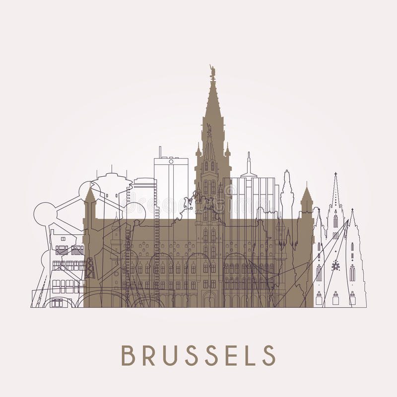 Περίληψη Βρυξέλλες Εκλεκτής ποιότητας ορίζοντας με τα ορόσημα διανυσματική απεικόνιση