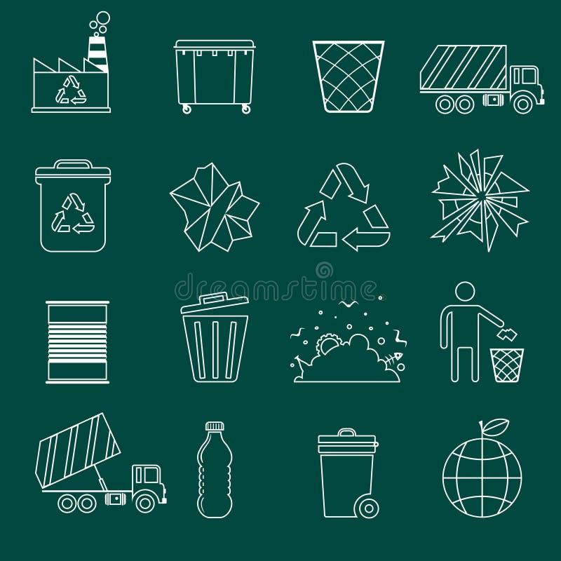 Περίληψη εικονιδίων απορριμάτων απεικόνιση αποθεμάτων