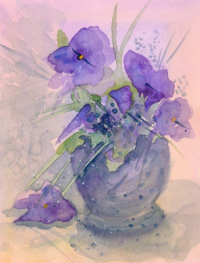 Περίληψη ζωγραφικής watercolor βιολέτων διανυσματική απεικόνιση