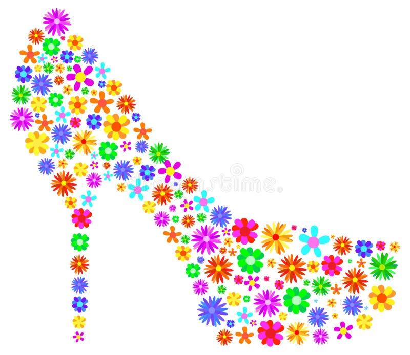 Περίληψη παπουτσιών γυναικών με τα λουλούδια ανοίξεων απεικόνιση αποθεμάτων