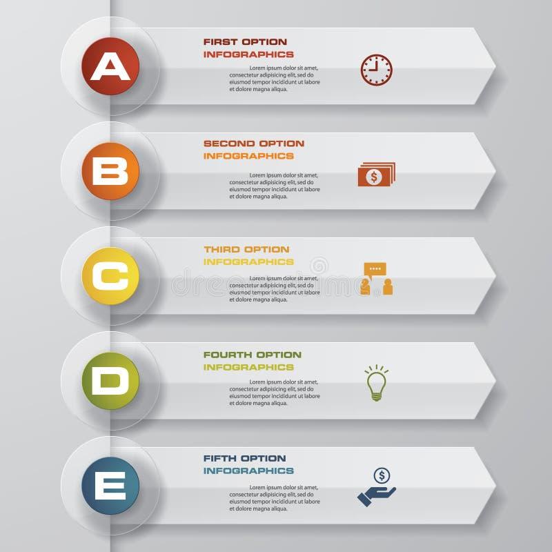 Περίληψη 5 στοιχεία infographics βημάτων/υπόδειξη ως προς το χρόνο επίσης corel σύρετε το διάνυσμα απεικόνισης απεικόνιση αποθεμάτων