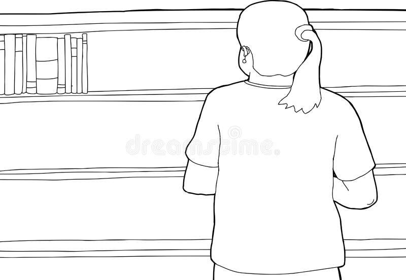 Περίληψη της γυναίκας που εξετάζει το κενό ράφι διανυσματική απεικόνιση