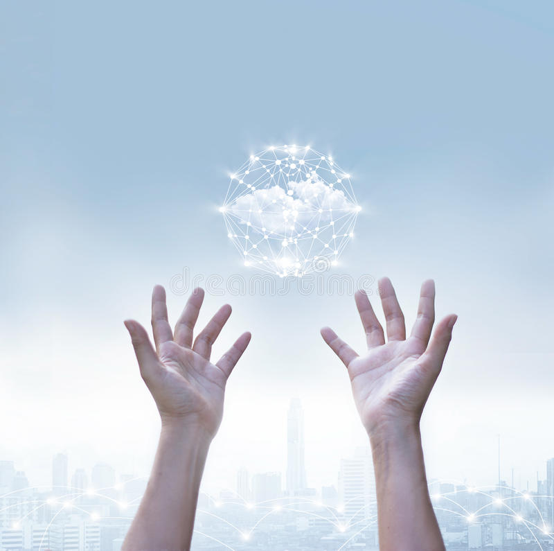 Περίληψη της σύνδεσης παγκόσμιων δικτύων κύκλων υπολογισμού επιχειρησιακών σύννεφων στοκ εικόνα