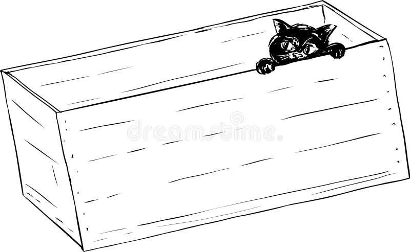 Περίληψη του μαύρου γατακιού στο κλουβί διανυσματική απεικόνιση