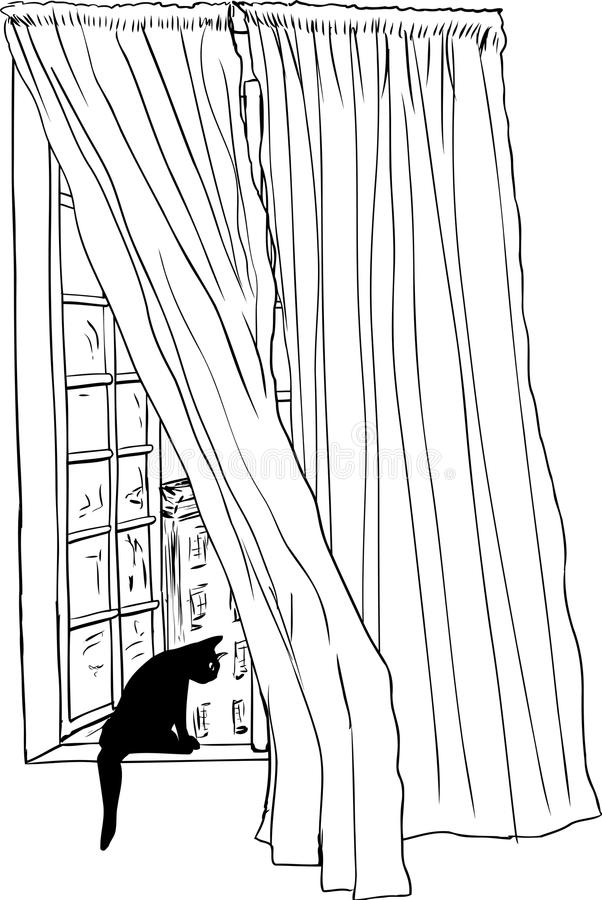 Περίληψη του παραθύρου και της γάτας στο παράθυρο της Στοκχόλμης διανυσματική απεικόνιση
