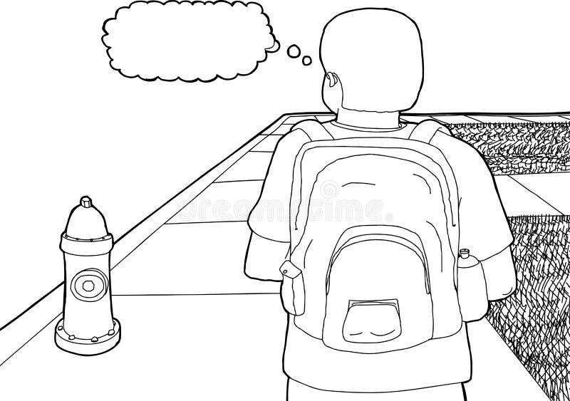 Περίληψη του σπουδαστή στο πεζοδρόμιο διανυσματική απεικόνιση