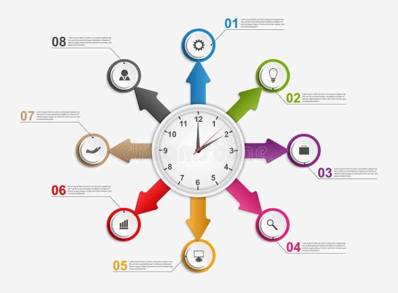 Download Περίληψη Infographic με τα βέλη και το ρολόι στο κέντρο πρότυπο εστιατορίων σχεδίου έννοιας Διανυσματική απεικόνιση - εικονογραφία από αποχής, εικονίδιο: 62700520