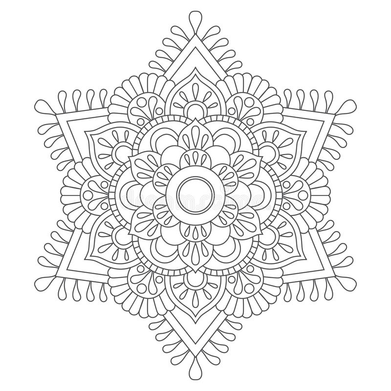 Περίληψη Mandala για το χρωματισμό του βιβλίου Αντιαγχωτικό σχέδιο θεραπείας διακοσμητικός κύκλος δ&i μπλε διάνυσμα ουρανού ουράν διανυσματική απεικόνιση