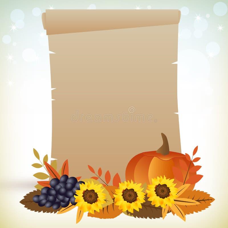 Περγαμηνή ημέρας των ευχαριστιών διανυσματική απεικόνιση