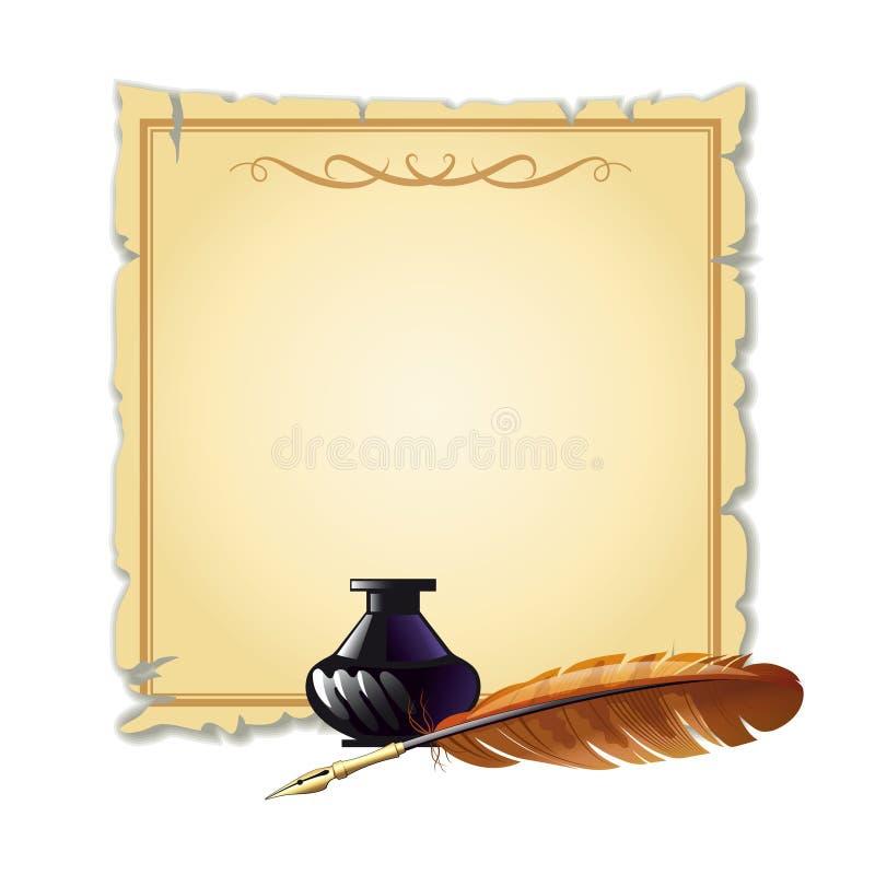 Περγαμηνή με τη μάνδρα και τη μάνδρα μελανιού για το γράψιμο ελεύθερη απεικόνιση δικαιώματος
