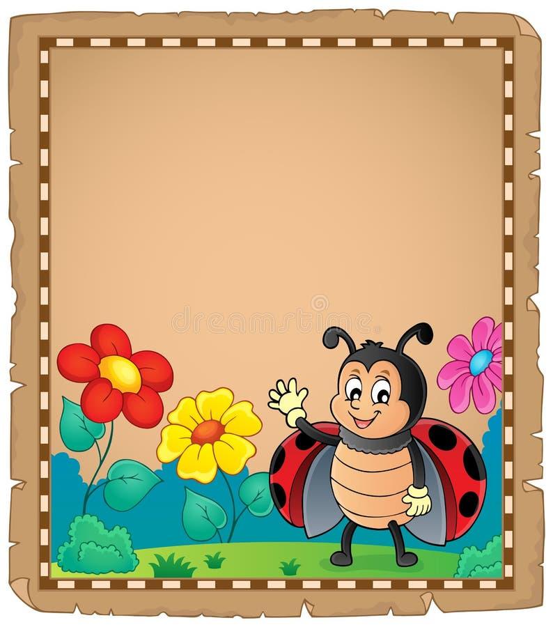 Περγαμηνή με τον κυματισμό ladybug απεικόνιση αποθεμάτων
