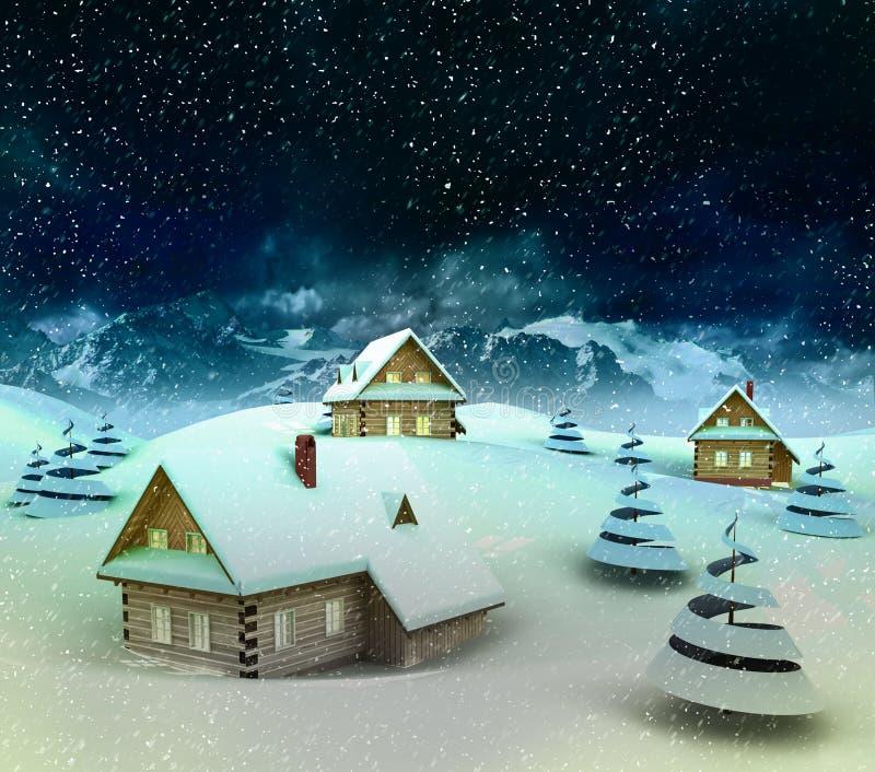 Περιβάλλον ορεινών χωριών στις χειμερινές χιονοπτώσεις διανυσματική απεικόνιση