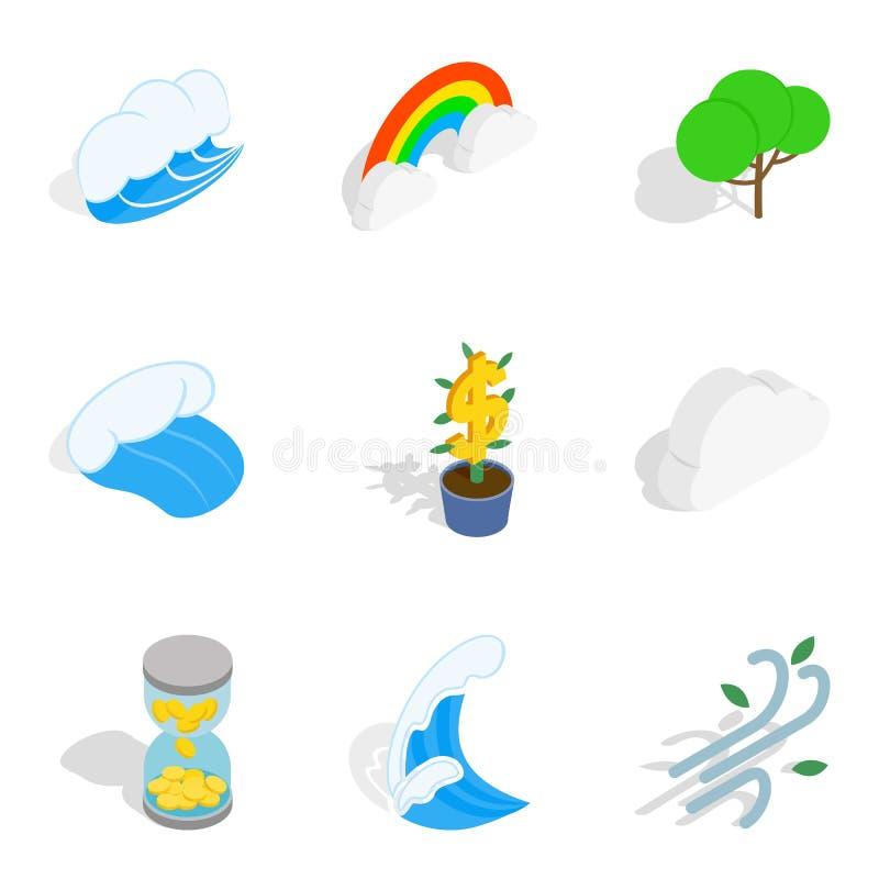 Περιβαλλοντικά βιώσιμα εικονίδια καθορισμένα, isometric ύφος απεικόνιση αποθεμάτων
