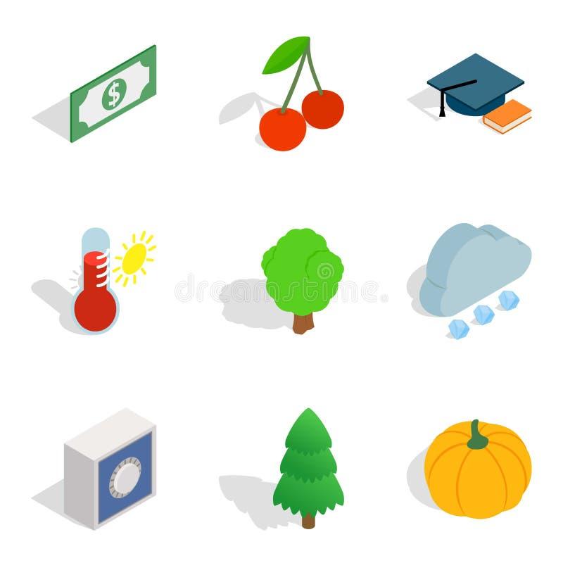 Περιβαλλοντικά υγιή εικονίδια καθορισμένα, isometric ύφος ελεύθερη απεικόνιση δικαιώματος