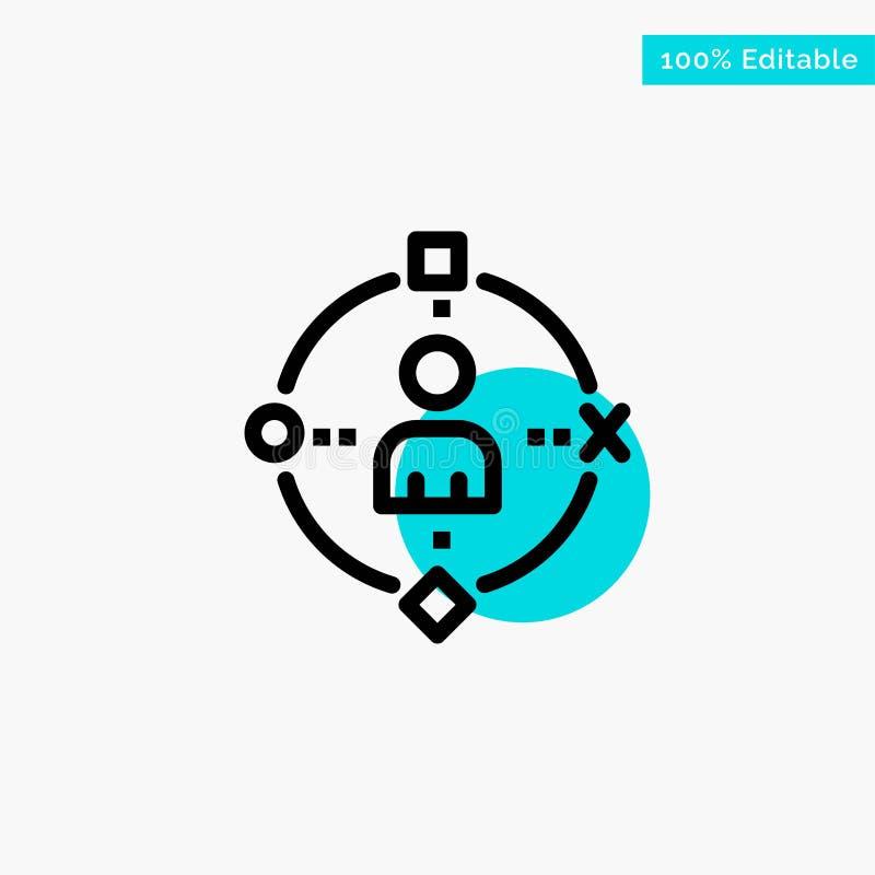 Περιβαλλοντικός, χρήστης, τεχνολογία, διανυσματικό εικονίδιο σημείου κυριώτερων κύκλων εμπειρίας τυρκουάζ ελεύθερη απεικόνιση δικαιώματος