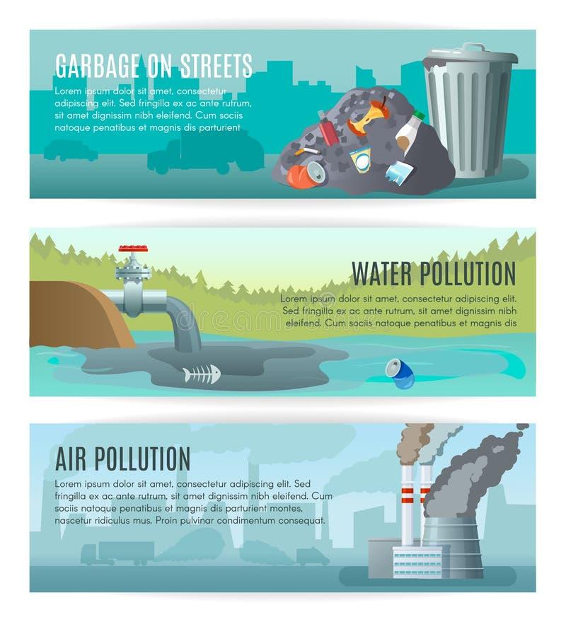 Περιβαλλοντικά εμβλήματα ρύπανσης καθορισμένα ελεύθερη απεικόνιση δικαιώματος