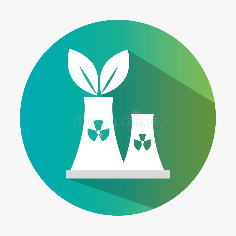 περιβαλλοντικό σύμβολο οικολογίας εργοστασίων με τη σκιά διανυσματική απεικόνιση