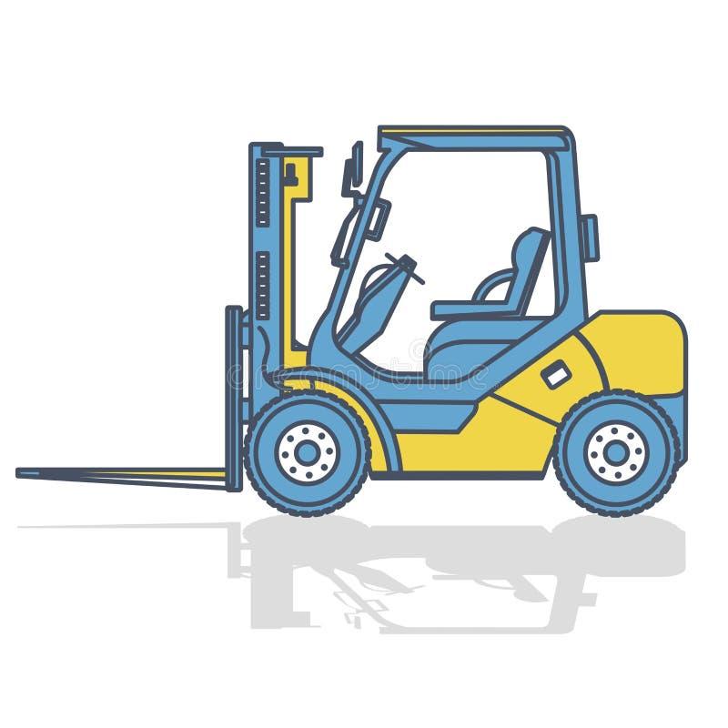 Περιγραμμένες forklift εργασίες φορτωτών στην αποθήκευση στο λευκό απομονωμένο λευκό αντικειμένου μηχανημάτων κατασκευής ανασκόπη ελεύθερη απεικόνιση δικαιώματος