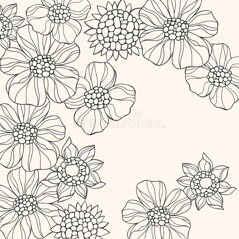 Περιγραμμένο διάνυσμα λουλουδιών Doodle απεικόνιση αποθεμάτων