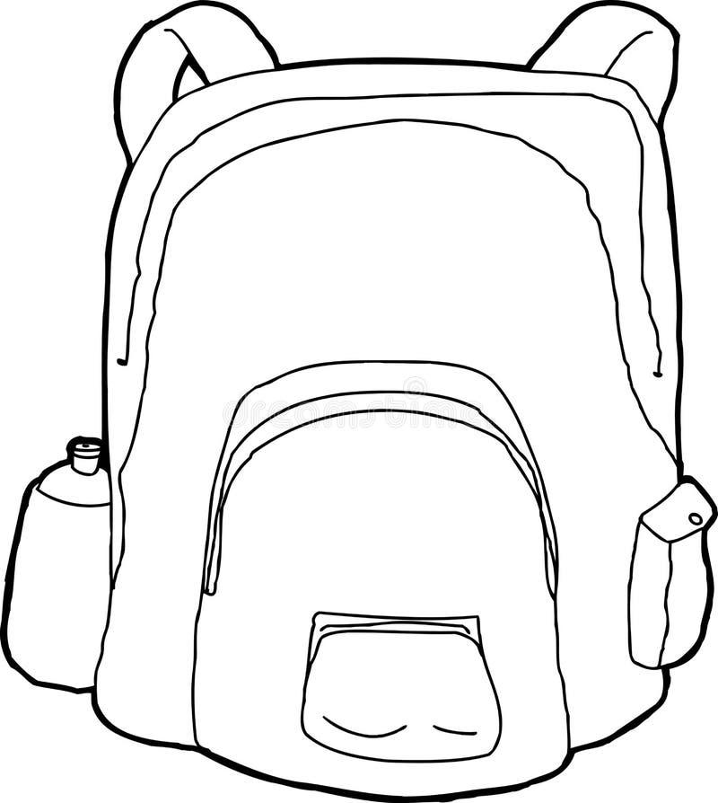 Περιγραμμένο σακίδιο πλάτης διανυσματική απεικόνιση