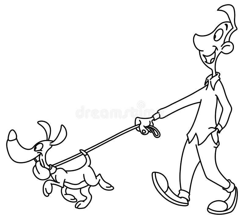 Περιγραμμένο σκυλί περπατήματος ατόμων διανυσματική απεικόνιση
