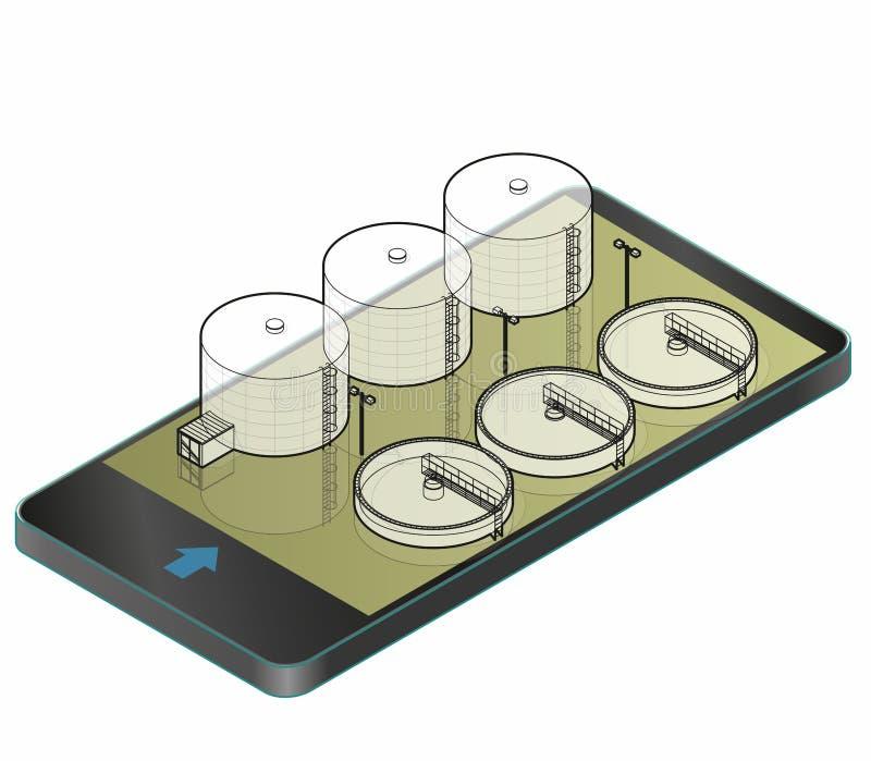 Περιγραμμένο isometric κτήριο κατεργασίας ύδατος στο κινητό τηλέφωνο Σχέδιο αρχιτεκτονικής καλωδίων διανυσματική απεικόνιση