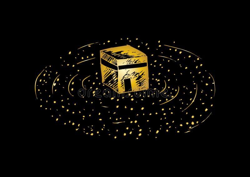 Περιγραμματικός ιερού Kaaba στη Μέκκα Σαουδική Αραβία απεικόνιση αποθεμάτων