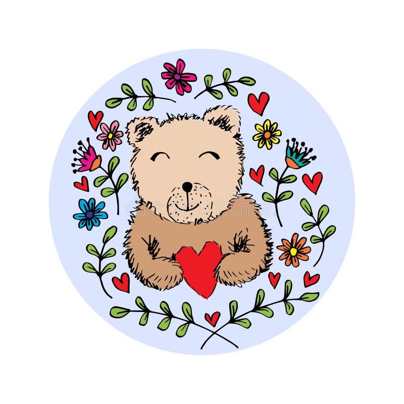 Περιγραμματικός της μορφής καρδιών εκμετάλλευσης αρκούδων με τα λουλούδια άνοιξης και καλοκαιριού απεικόνιση αποθεμάτων