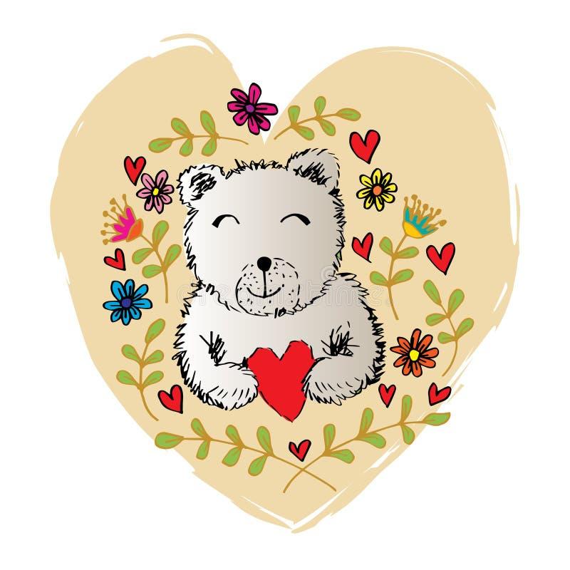 Περιγραμματικός της μορφής καρδιών εκμετάλλευσης αρκούδων με τα λουλούδια άνοιξης και καλοκαιριού ελεύθερη απεικόνιση δικαιώματος