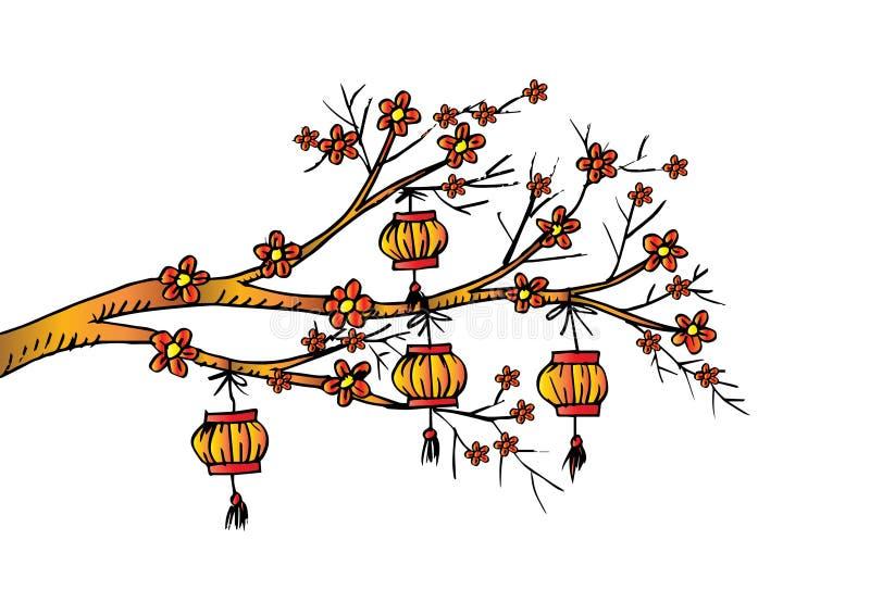Περιγραμματικός του κινεζικού φαναριού κρεμάστε στο δέντρο κερασιών ελεύθερη απεικόνιση δικαιώματος