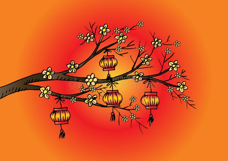 Περιγραμματικός του κινεζικού φαναριού κρεμάστε στο δέντρο κερασιών διανυσματική απεικόνιση