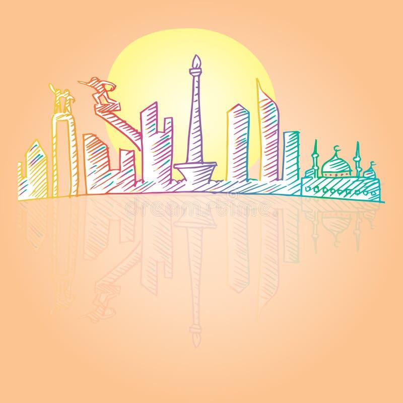 Περιγραμματικός του ορίζοντα πόλεων της Τζακάρτα απεικόνιση αποθεμάτων