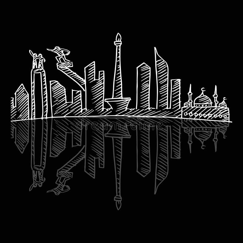 Περιγραμματικός του ορίζοντα πόλεων της Τζακάρτα ελεύθερη απεικόνιση δικαιώματος