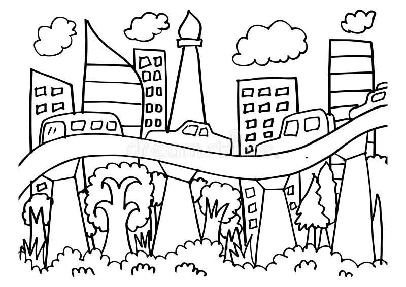 Περιγραμματικός του ορίζοντα πόλεων της Τζακάρτα διανυσματική απεικόνιση