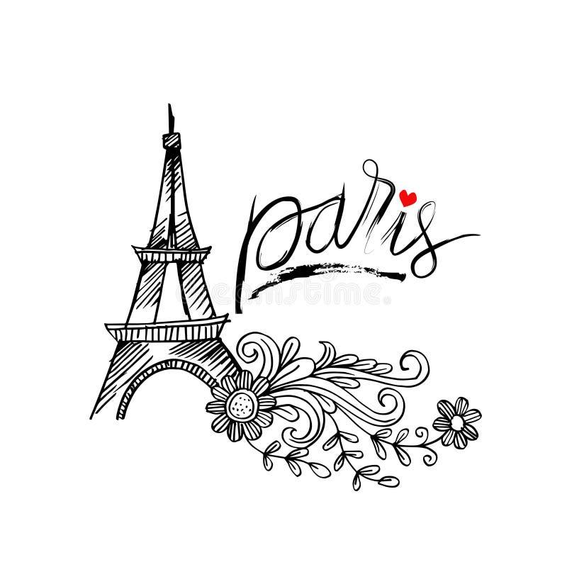 Περιγραμματικός του πύργου του Άιφελ στο Παρίσι απεικόνιση αποθεμάτων