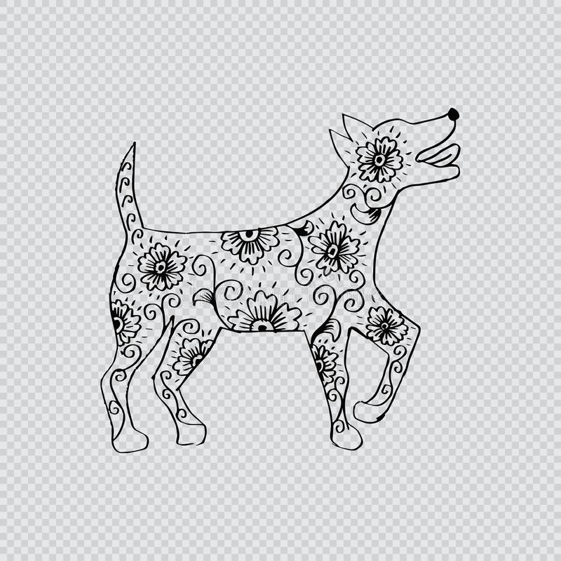 Περιγραμματικός του σκυλιού διανυσματική απεικόνιση