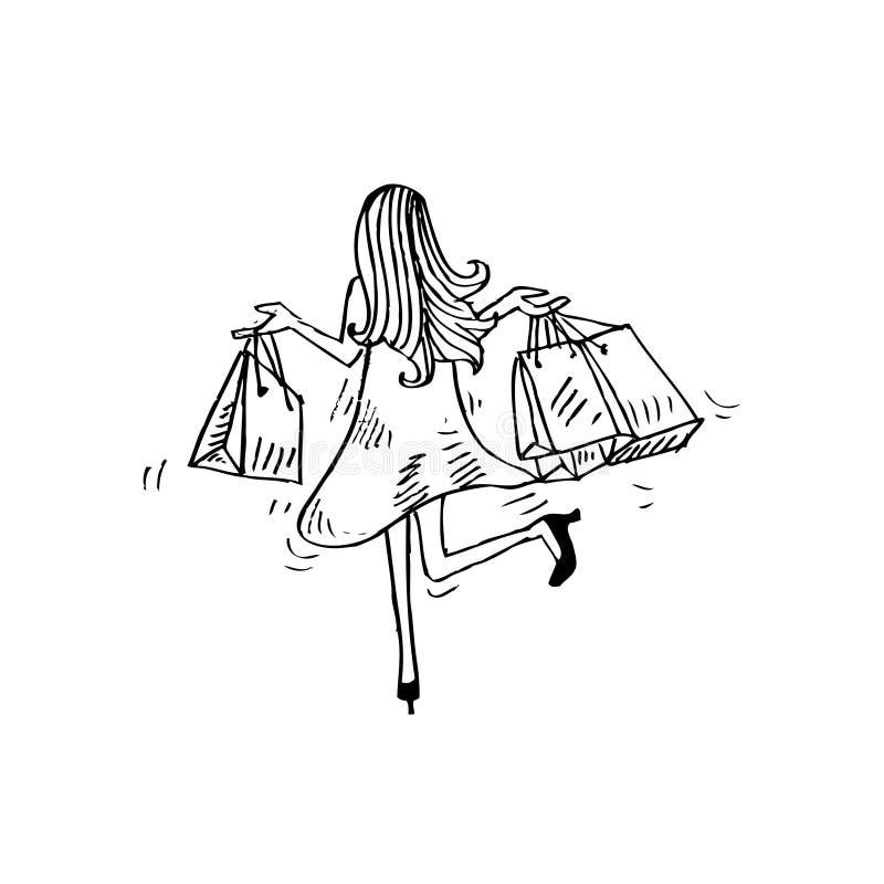 Περιγραμματικός των αγορών γυναικών διανυσματική απεικόνιση