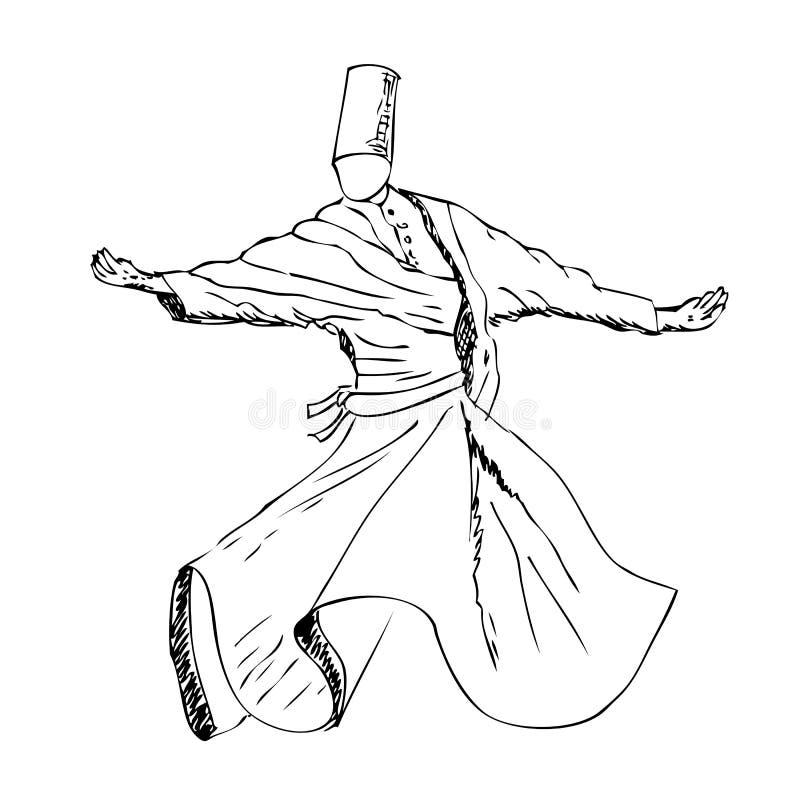 Περιγραμματικός χορευτής sufi, Τουρκία απεικόνιση αποθεμάτων