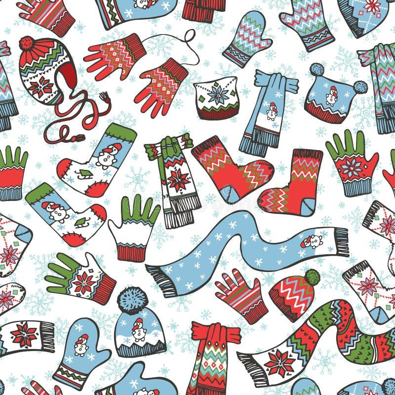 Περιγραμματικό άνευ ραφής σχέδιο μωρών Πλεκτός ιματισμός ελεύθερη απεικόνιση δικαιώματος