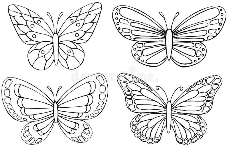 περιγραμματικό διάνυσμα πεταλούδων doodle διανυσματική απεικόνιση