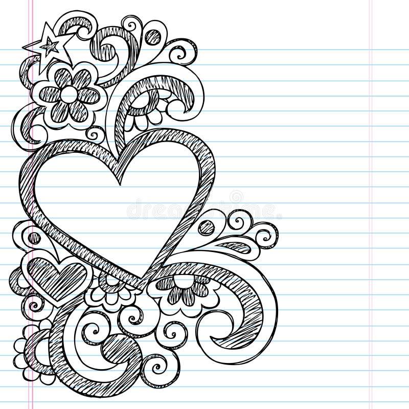 Περιγραμματικό διανυσματικό σχέδιο Doodle πλαισίων αγάπης καρδιών ελεύθερη απεικόνιση δικαιώματος