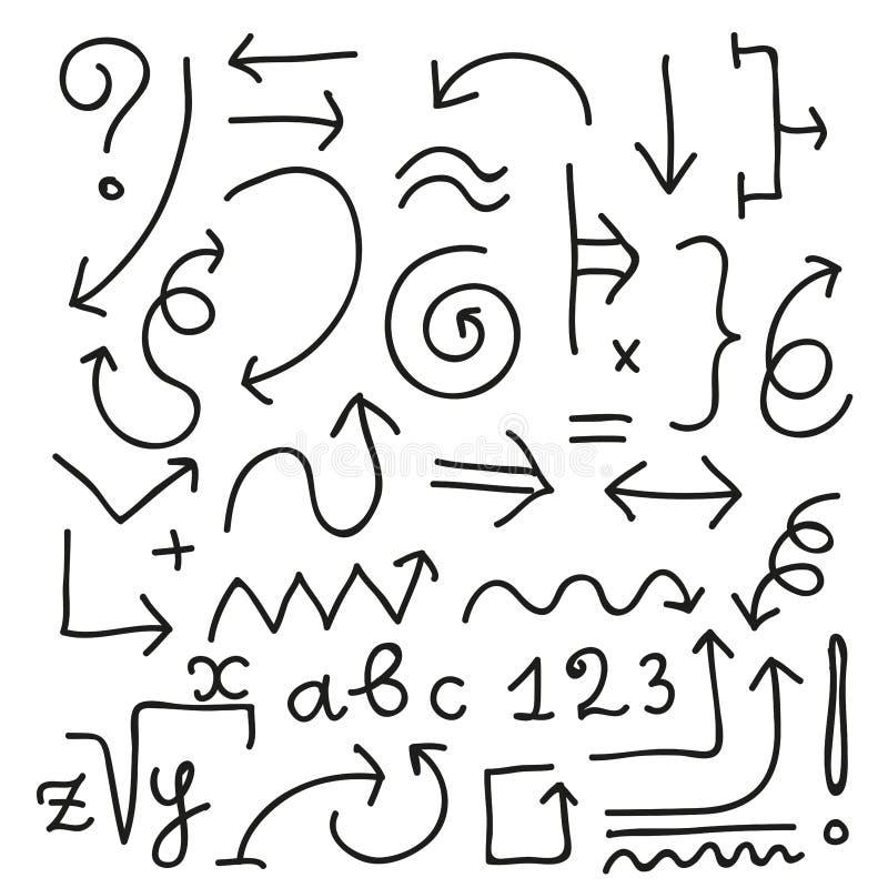 Περιγραμματικό συρμένο διανυσματικό σύνολο βελών doodle απεικόνιση αποθεμάτων