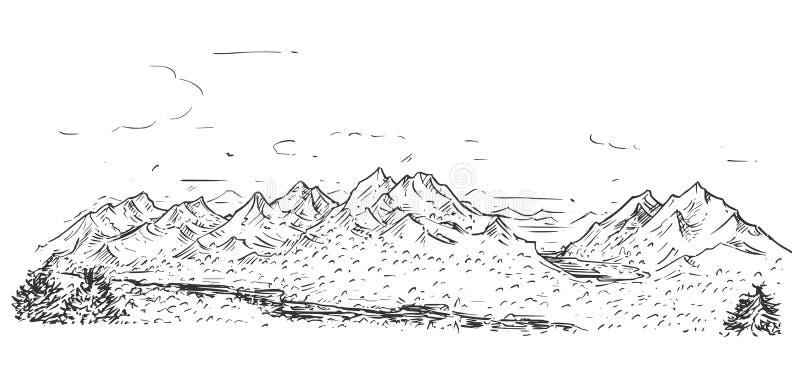 Περιγραμματικό σχέδιο του λοφώδους δύσκολου τοπίου βουνών ελεύθερη απεικόνιση δικαιώματος