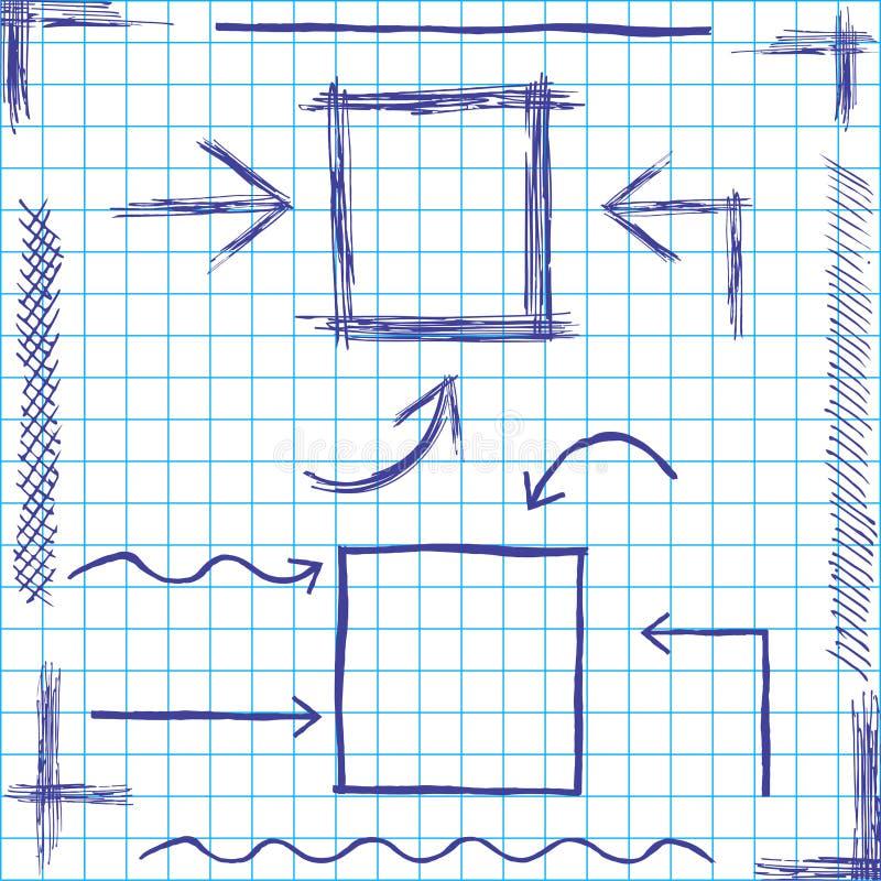 Περιγραμματικό σχέδιο βελών και πλαισίων διάνυσμα απεικόνιση αποθεμάτων