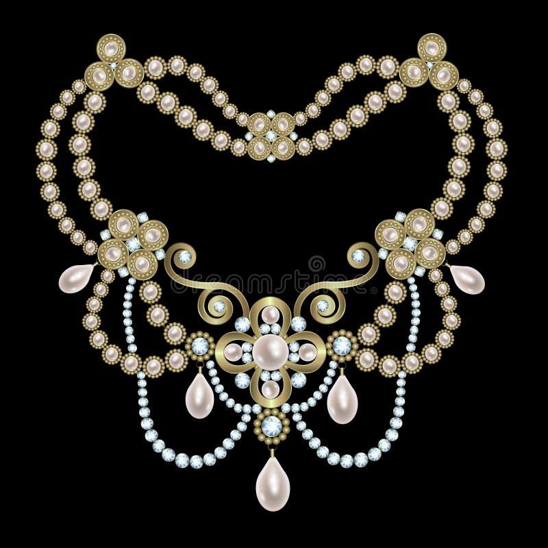 Περιδέραιο μαργαριταριών με τα διαμάντια ελεύθερη απεικόνιση δικαιώματος