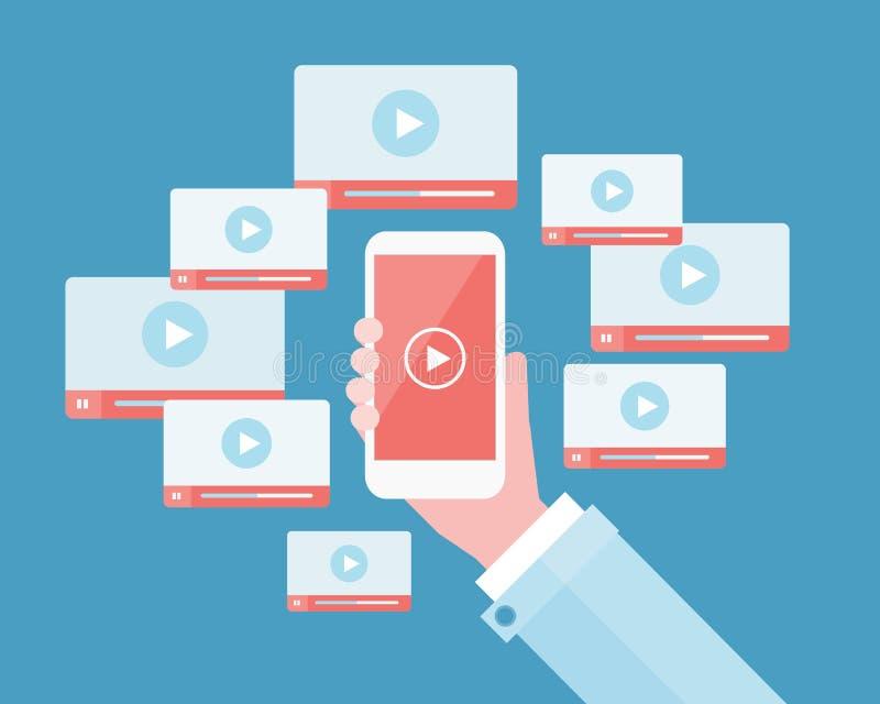 Περιεχόμενο επιχειρησιακού τηλεοπτικό μάρκετινγκ κινητό σε σε απευθείας σύνδεση ελεύθερη απεικόνιση δικαιώματος
