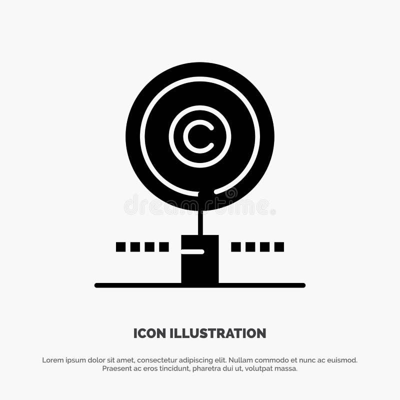 Περιεχόμενο, Πνευματικά δικαιώματα, Εύρεση, Ιδιοκτήτης, Διάνυσμα εικονιδίου συμπαγούς γλύφου ιδιότητας απεικόνιση αποθεμάτων