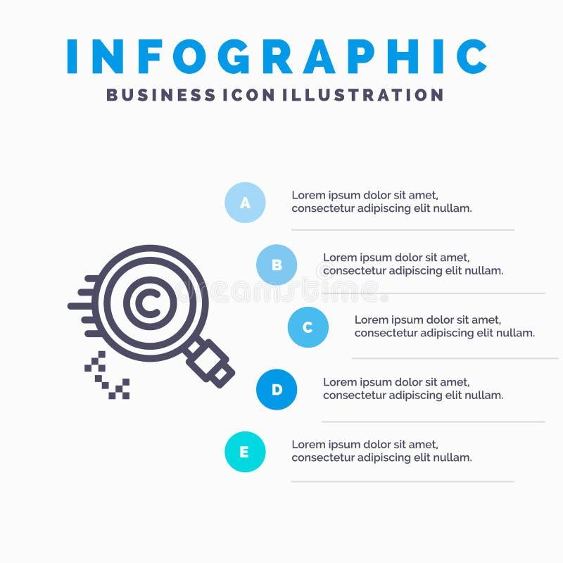 Περιεχόμενο, Πνευματικά δικαιώματα, Εύρεση, Ιδιοκτήτης, εικονίδιο γραμμής ιδιοτήτων με 5 βήματα infographics παρουσίασης Φόντο ελεύθερη απεικόνιση δικαιώματος