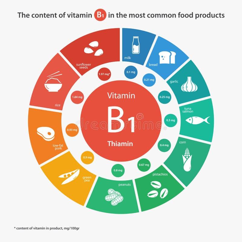 Περιεχόμενο της βιταμίνης B1 στα πιό κοινά τρόφιμα διανυσματική απεικόνιση